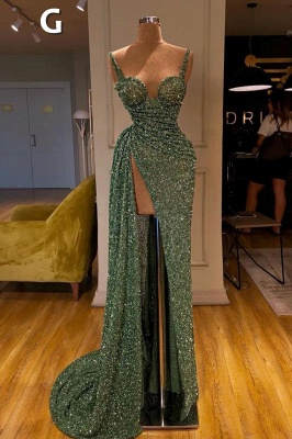 Glitter Off the Shoulder Slim Mermaid Prom Dress Sleeveless Mermaid Evening Gowns_8