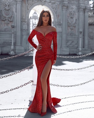 Burgundy Mermaid Prom Dresses Evening Gown with Sleeves_2