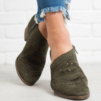 Hollow-out Low Heel Summer Faux Suede Boot On Sale_3