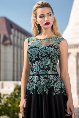 Gorgeous Mermaid Jewel Charmeuse Lace Sleeveless Prom Dress_1
