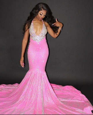 Sexy Halter Mermaid Evening Gowns Backless Prom Dress_4
