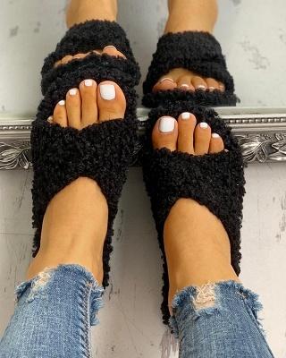 Solid Fluffy Crisscross Design Flat Sandals_15