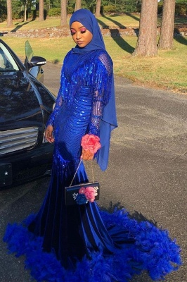 Mermaid Royal Blue Sequined Prom Dresses Sweep Train_2