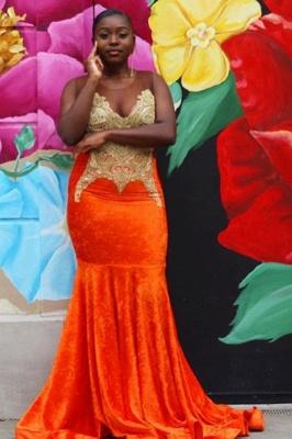 Sweetheart Appliques Organe Prom Dress Mermaid Evening Maxi Dress_4