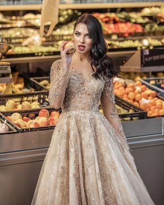 Elegant Floor Length Lace Tulle Long Sleeveless Wedding Dresses_4