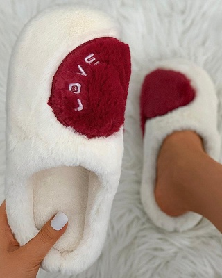 Heart Letter Pattern Fluffy Slippers_13