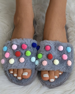 Pom Pom Colorblock Fluffy Slippersa_12