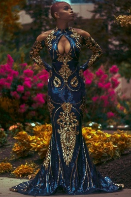 Mermaid Prom Dress Sexy Long Sleeve evening dressing_3