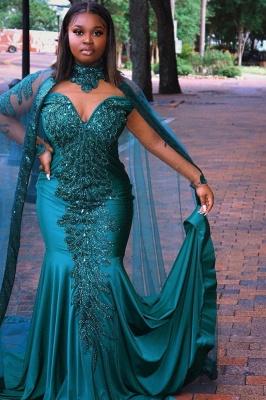 Glamorous Mermaid Prom Dresses Long Sleeve Floor Length Evening Gowns_3