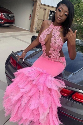 Mermaid Feather Pink Halter Prom Dress Appliques Evening Dressing_2