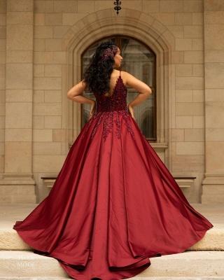 Elegant V-Neck Satin Lace Burgundy Wedding Dress_2