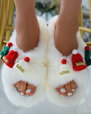 Christmas Pattern Cross Fluffy Slippers_2