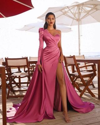 One Shoulder Prom Dresses Satin Side Split Evening Maxi Gowns_4