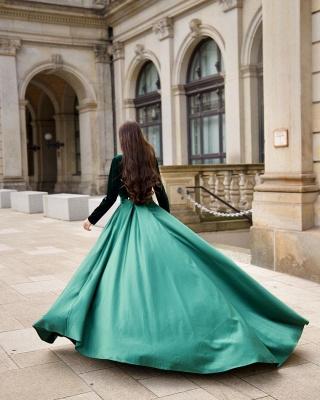 Chic V-neck Long Sleeves Satin Velvet Prom Dress with Slit_2