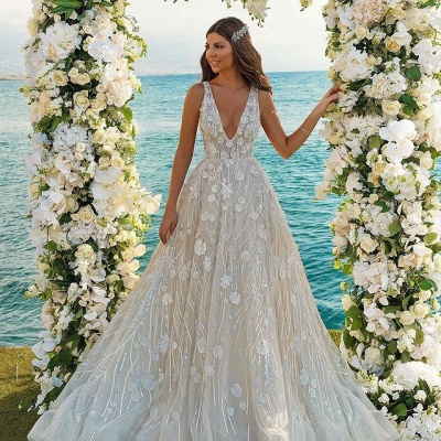 Chic V-neck A-Line Straps Tulle Lace Wedding Dress_2