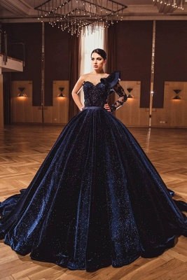 Gorgeous A Line Dark Purple Ball Gowns One Shoulder Prom Dresses_1