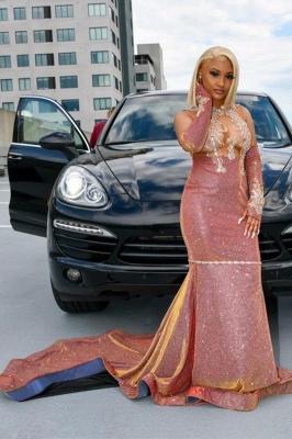 Glitter LongSleeve Appliques mermaid Evening Gowns_1