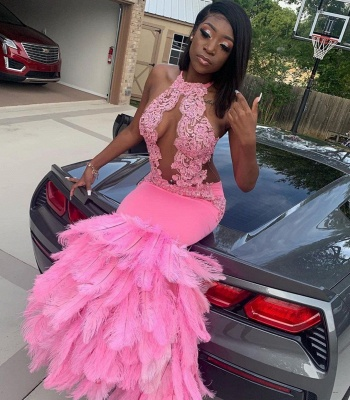 Mermaid Feather Pink Halter Prom Dress Appliques Evening Dressing_4