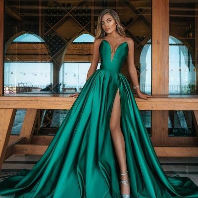 Allering V-Neck Strapless Ruffle Prom Dress with Front Slit_2