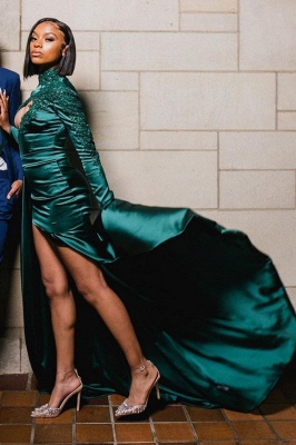 Sexy Dark Green Appliques Side Split Prom Dress Long SLeeve_3