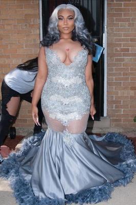 Plus Size Appliques Mermaid Prom Dress Floor Length Feather Train V-Neck_2