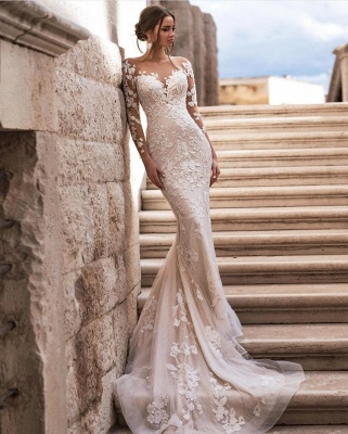 Sexy Long Sleeves Lace Wedding Dresses Online_2