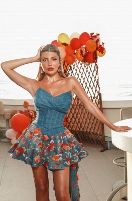 Sexy Hi-Lo Satin Strapless Flower Prom Dress with Ruffles_3