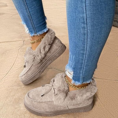 Fashion Daily Round Toe Fashion Warm Fur Flat boots On Sale On Sale_6