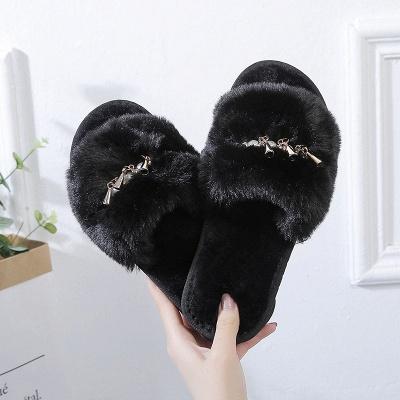 Beaded Metal Tassel Fluffy Slippers_4