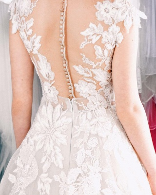 Cheap A Line Lace V Neck Sleevelss Wedding Gowns_4