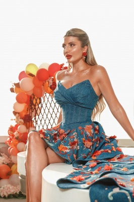 Sexy Hi-Lo Satin Strapless Flower Prom Dress with Ruffles_7