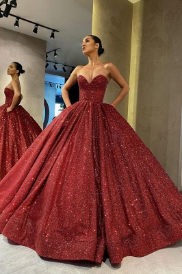 Charming Sweetheart Aline Prom Dress Burgundy Glitter Evening Gown_2