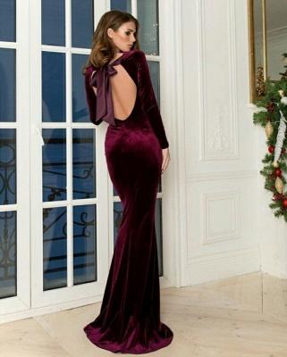 Cheap Floor Length Mermaid Backless Jewel Burgundy Prom Dresses_2