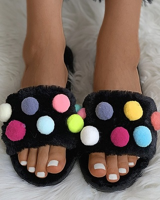 Pom Pom Colorblock Fluffy Slippers_7