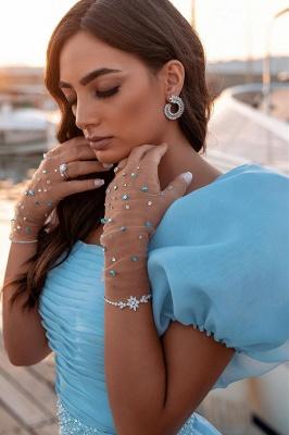 Sky Blue Princess Prom Dresses Short Sleeve Mermaid Evening Gowns_5