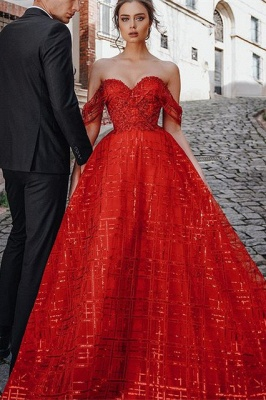 Gorgeous Ball Gown Sweetheart Red Prom Dress with Sequins_1