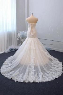 Cheap White Lace Wedding Gowns Sleeveless Mermaid Bridal Wear_2