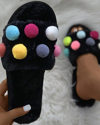Pom Pom Colorblock Fluffy Slippers_5