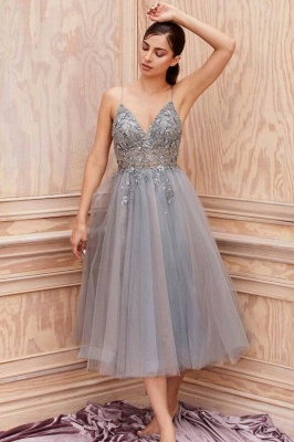 Cheap Lace Grey Prom Dresses Short Sleeveless V Neck Gowns_1