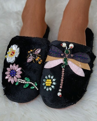 Floral Pattern Rhinestone Fluffy Slippers_11