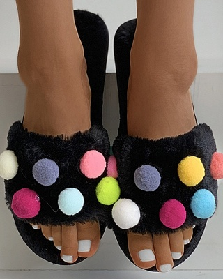 Pom Pom Colorblock Fluffy Slippers_6
