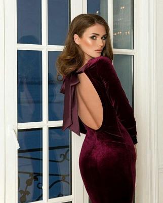 Cheap Floor Length Mermaid Backless Jewel Burgundy Prom Dresses_5