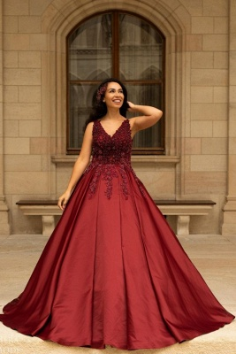 Elegant V-Neck Satin Lace Burgundy Wedding Dress_1
