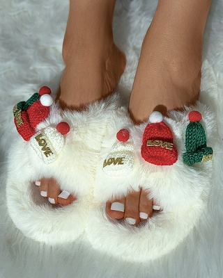 Christmas Pattern Cross Fluffy Slippers_17
