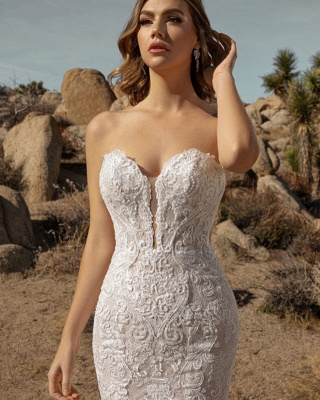 Sexy Floor Length Sweetheart White Lace Mermaid Wedding Gowns_3