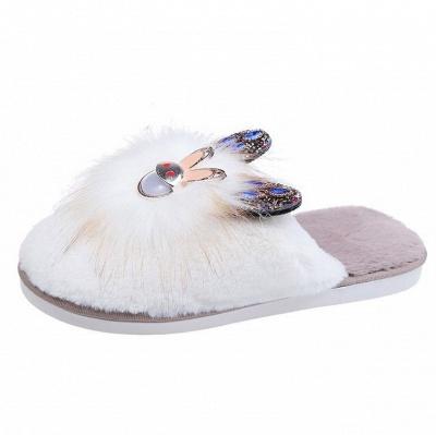 Rabbit Pattern Studded Fluffy Slippers_2