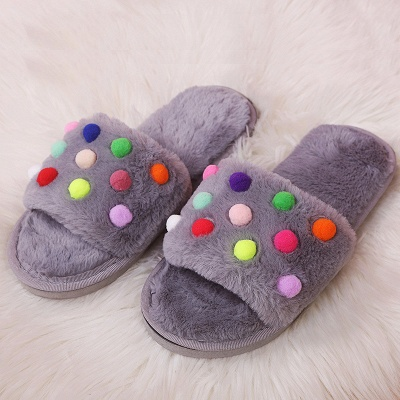 Pom Pom Colorblock Fluffy Slippersa_3