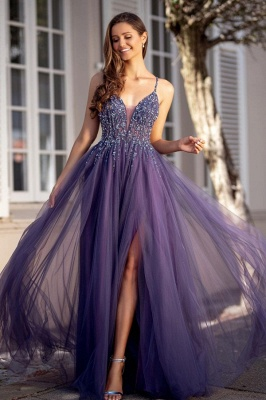 Sexy Spaghetti Straps Tulle Lace Beadings Prom Dress with Slit_1