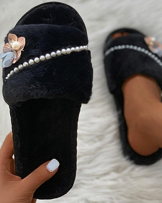 Floral Pattern Beaded Fluffy Slippers_7