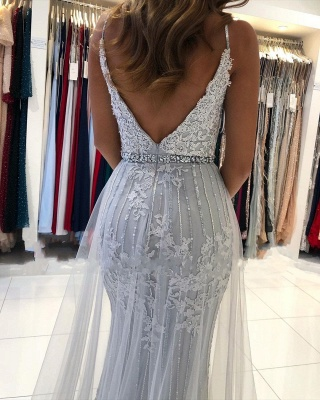 Sexy Sweetheart Lace Tulle Prom Dresse Split Mermaid Gowns_3